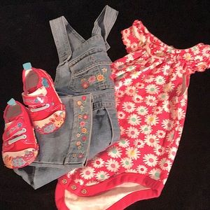 Floral and denim overalls with match floral onesie